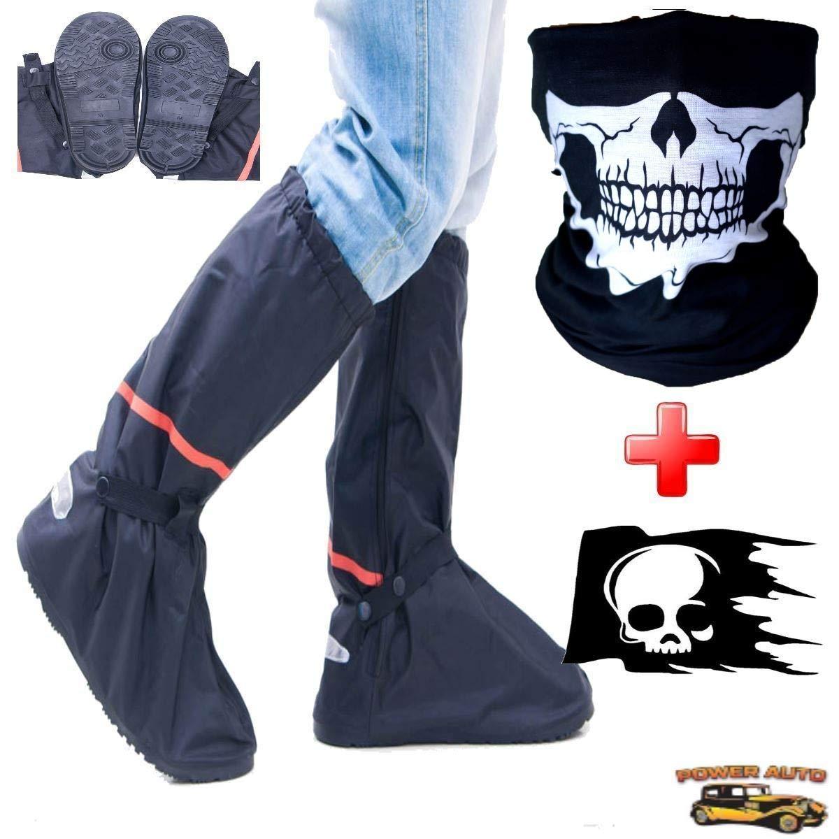 摩托车靴套 - 全鞋一脚蹬 w/便携包、贴花和面罩 X大码 黑色 PA-RainBoots