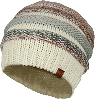 Striped Marled Ribbed Knit Beanie Hat, Slouchy Oversized Chunky Skully Cap