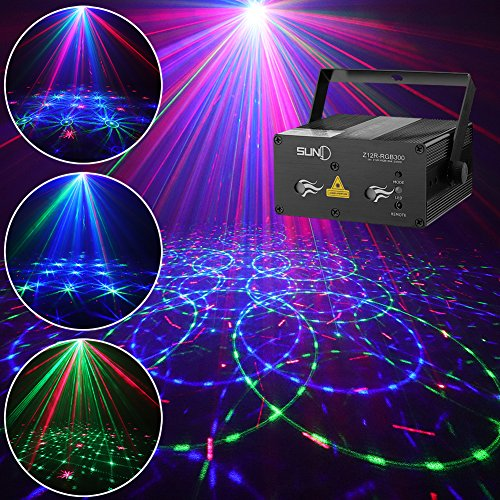 SUNY Party Lights DJ Stage Lighting 12 Gobos Green Blue Music Light Red Stars Mixed Effect Stage Lighting Party Music Show Projector Remote Control Sound Activated Dance Home Decor Xmas Holiday Show