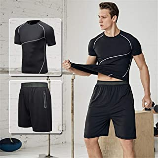 Men's Sports Suit, Sports Shorts with Half Sleeves, Chemical Fiber Mixed Stretch Fabric, Ultra Light, Quick Dry, Deodorant Technology