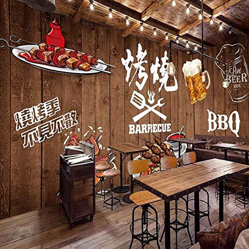 ZJfong fotobehang handgeschilderd houten plank omzoomd barbecue restaurant achtergrond muur aangepast behang wandafbeelding 350 x 245 cm.