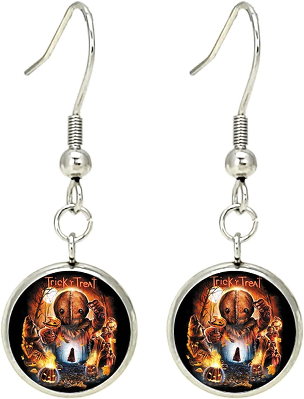 Trick R Treat Burlap Sam Mask Horror Halloween Earrings, Cosplay Metal Earrings, Gifts for Women, Men, Girls and Boys