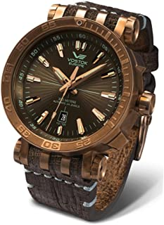 Vostok-Europe Energia 2 NH35-575O285 Leather Green Brown Watch Pilot Automatic 49mm