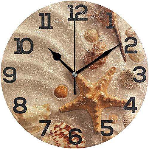 sam-shop Verano Playa Arena Seashell Starfish Reloj de Pared Silencioso No tictac Oficina en el hogar Escuela Reloj Redondo Decorativo