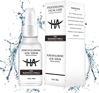 Hyaluronic Acid Serum for Skin- 100% Organic HA- Anti Aging Serum for Face and Neck-Hydrating Facial Serum for Fine Lines, Wrinkle, Dry Skin, Leave Skin Full, Plump, Soft, Smooth (1FL Oz)