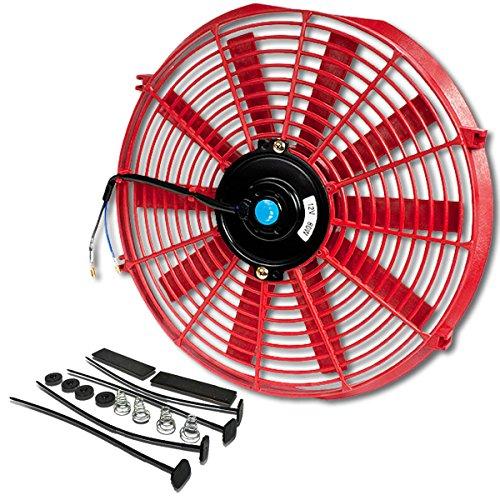 DNA Motoring ventilador de radiador eléctrico de alto rendimiento de 14 pulgadas con kit de montaje (rojo)