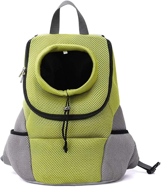 COOINSCBXL Fashion pet out backpack shoulder chest backpack dog out carrying bag, 29×19×38cm, green B
