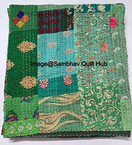 Colcha Kantha de color verde con estampado de Khambadiya a mano y remiendo de tamaño Queen y King, para decoración del hogar, para el hogar, con 2 fundas de almohadas