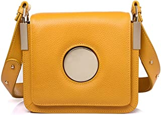 Yellow/black/white Leather Handbags European And American Fashion Trend Small Square Bag Force Branch Pattern Ring Shoulder Diagonal Female Bag 18 * 6 * 19 (cm). jszzz (Color : Yellow)