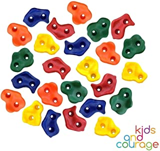 Ruby's Creations 25 Textured Rock Climbing Holds for Kids with Installation Hardware - Climbing Grips for Your DIY Rock Stone Wall
