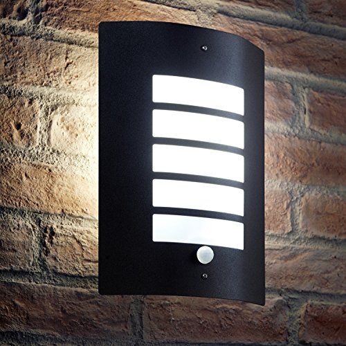 Auraglow Energy Saving Motion Activated PIR Sensor Outdoor Security Wall Light - Black Matte Finish - Cool White