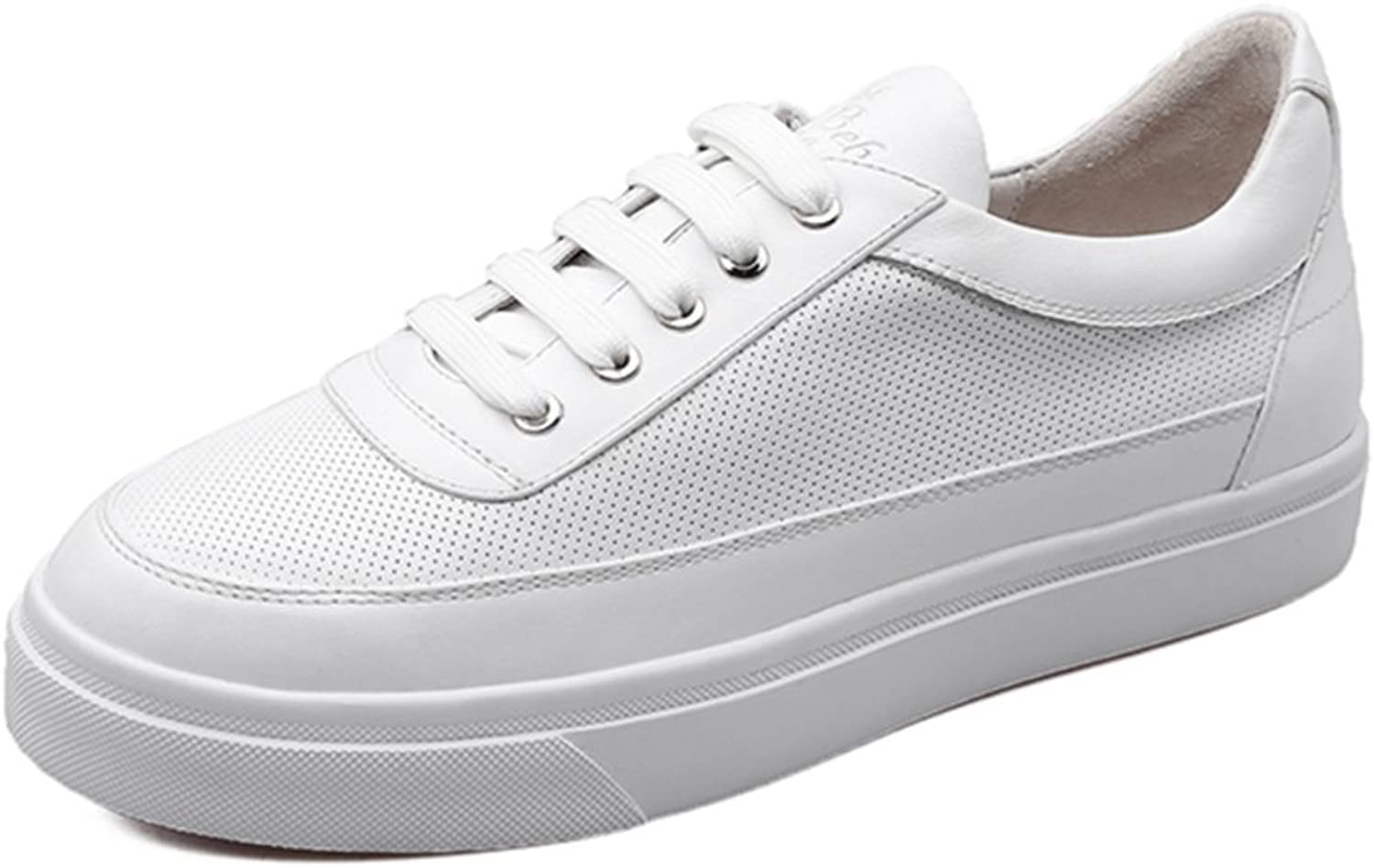 Huhuj Round Solid White shoes Student Board shoes Low-Heeled shoes Recreational Sports