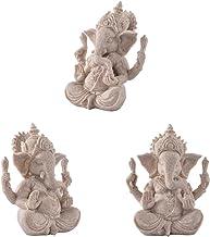 #N/A 3pcs Hand Carved Sandstone Seated Ganesh Buddha Deity Hindu Statue Art Craft