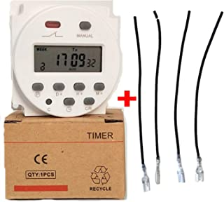 Seven Day Heavy Duty LCD Digital Programmable Timer CN101A DC/AC 12V 16A Solar Battery Powered Support 17-times Daily Weekly Program (Indoor)