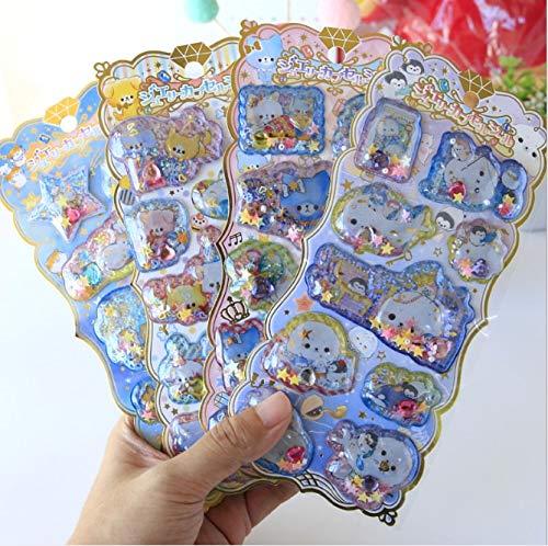 1set/1lot Kawaii Stationery Stickers Cartoon sequins shake sticker Decorative Mobile Stickers Scrapbooking DIY Craft Stickers