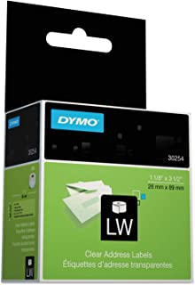 DYMO 30254 LabelWriter Self-Adhesive Address Labels, 1 1/8- by 3 1/2-inch, Clear, Roll of 130, 2 Packs