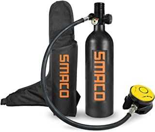 SMACO S400+ 1 litres Scuba Diving Underwater Oxygen Cylinder Mini Scuba Dive Cylinder with 12-18 Minutes Capability, Pressure& Corrosion Resistant Material with Refillable Design