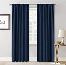RYB HOME Long Curtain Panels - Classical Window Decor Sunlight Shade Blind for Sliding Glass Door Family Room Living Room Cabin, 42 inches Wide x 84 inches Long, Navy Blue, Set of 2