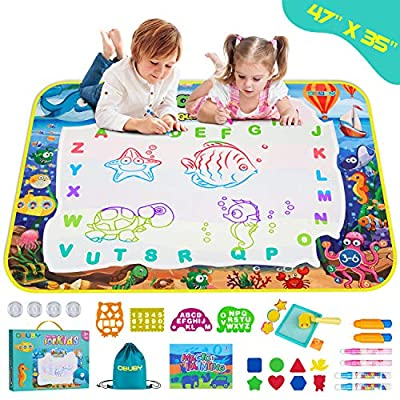 Obuby Aqua Magic Doodle Mat for Kids 47 x 35 Inches Water Painting Drawing Doodling Board Educational Travel Toys Gifts for Toddlers Boys Girls Age 3 4 5 6 7 8 9 10 11 12 Year Old