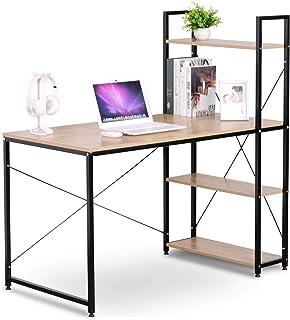 eSituro Mesa de Oficina Escritorio de Ordenador Muebles de Oficina de PC Trabajo de Madera y Acero, con Tres Estante, Aprox. 120x74x71,5 cm Roble + Negro SCD0030