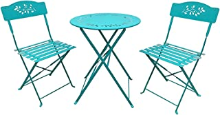 OC Orange-Casual 3-Piece Floral Bistro Set, Steel Folding Dining Table and Chairs Garden Backyard Outdoor Furniture Set, Decorative Design-Blue