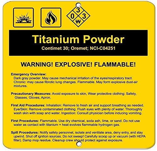 Metalen bord Grote Aluminium Tin Teken Titanium Poeder Contimet 30; Oremet; Nci C04251 Gevaar Deur Teken 12x16 inch