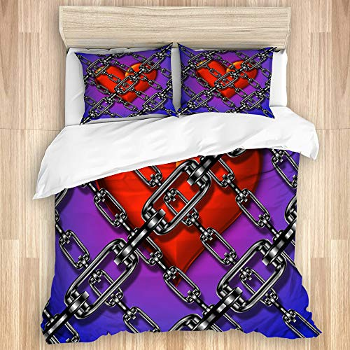 Aliciga Decorative Duvet Cover Set,3D abstract heart chained,Microfibre 200x200 with 2 Pillowcase 50x80,Double