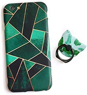 BONTOUJOUR iPhone XS max Case, Beautiful Geometry Leaves Pattern Cover Case Slim Soft TPU Strong Protection +Cat Shape Ring Holder - Green