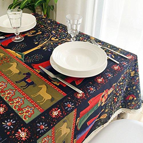 HXC Home 130 * 180 cm zwart oosters gebloemd in tafelkleed, katoen linnen, eettafel, reception, rechthoekig, niet strijken, milieuvriendelijk tuintafellaken