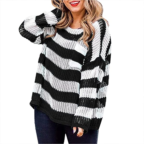 RNUYKE Womens Casual Crew Neck Color Block Oversized Lightweight Sweater Long Sleeve Knit Pullover Jumper Tops