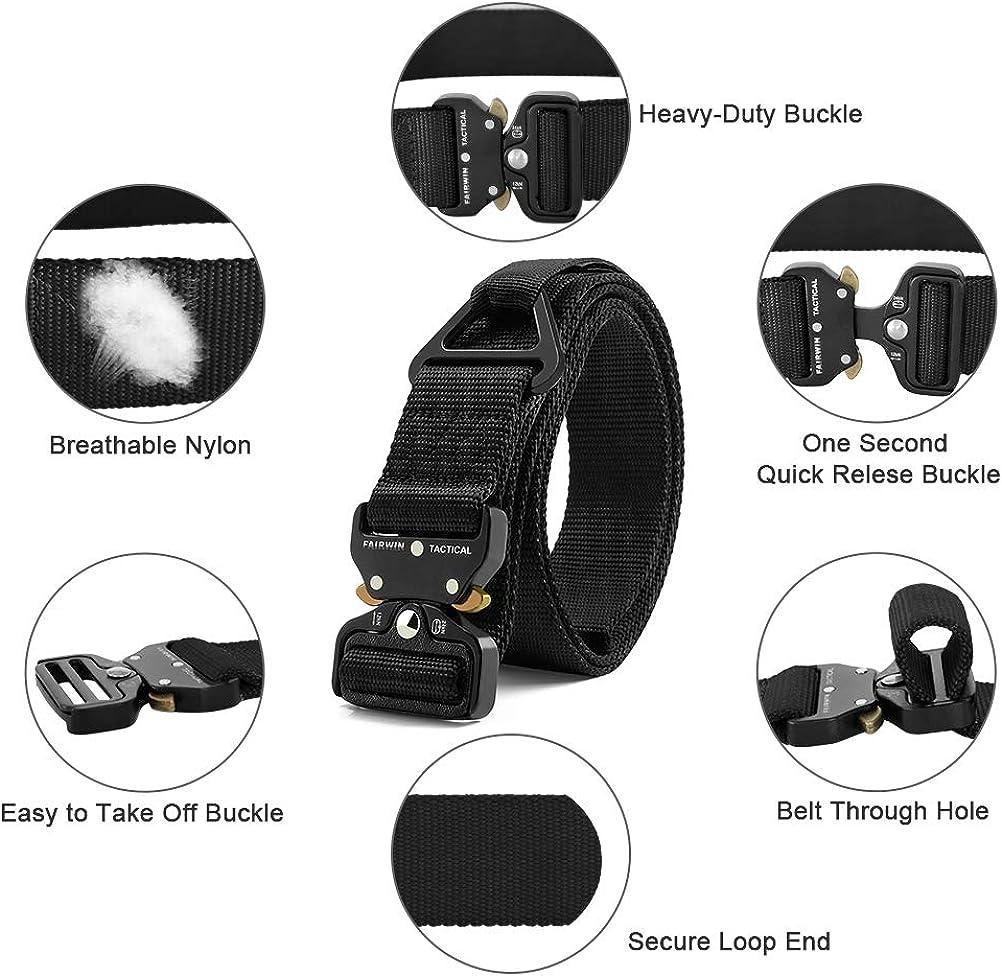 Fairwin Tactical Rigger Belt, Mens Work Belt Hiking Belt Nylon Webbing Belt with V-ring Heavy-Duty Quick-Release Buckle