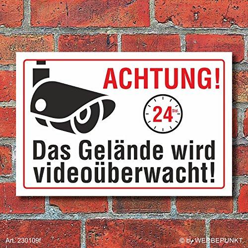 Schild Gelände videoüberwacht Videoüberwachung Kamera überwacht 3 mm Alu-Verbund 300 x 200 mm