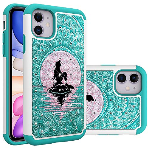 iphone 11 Case, iphone 11 Case for Girls Women, Mermaid with Moon Pattern Heavy Duty Shockproof Studded Rhinestone Crystal Bling Hybrid Case Silicone Protective Armor for Apple iPhone 11 6.1 Inch 2019