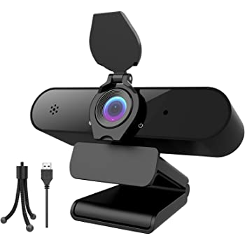Webcam with Microphone, Aufixy 2K Full HD Webcam with Privacy Protection Webcams Camera Suitable for Video Conference Calls and Online Course Learning Comes with a Tripod, Out of The Box