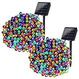 Qedertek Luces de Navidad Exterior, 2 Pack Guirnalda Luces Solar 22M 200 LED, Cadena Luz Solar Impermeable, Luces de Navidad Colores Decoración Iluminación para Arbol de Navidad