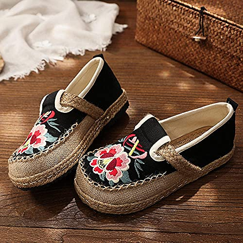 Jskdzfy Ladies embroidered shoes Flower Embroidered Women Vegan Handmade Flat Espadrilles Retro Bohemian Style Ladies Comfortable Flat Shoes Sneakers (Color : Nero, Size : 4)