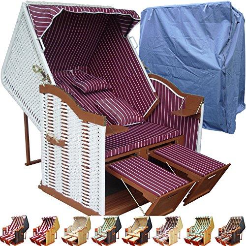 XINRO® Strandkorb weiß XXL günstig für Balkon und Garten rot inkl Strandkorb Schutzhülle - rot mit weißem Polyrattan und braunem Holz, Form Ostsee Strandkorb
