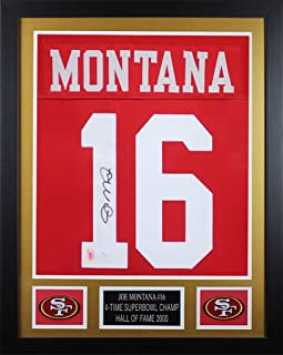 Joe Montana Autographed Red 49ers Jersey - Beautifully Matted and Framed - Hand Signed By Joe Montana and Certified Authentic by JSA - Includes Certificate of Authenticity