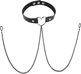 Fashion Adjustable Women Punk Goth Nipple Ring Black Leather Collar Choker Necklace Silicone Noose Non-Piercing Metal Body Chain Nipple Cover Chain Faux Body Jewelry