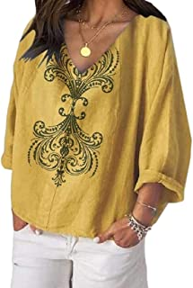 Women's Floral Top Casual V-Neck Long-Sleeves Top Blouse