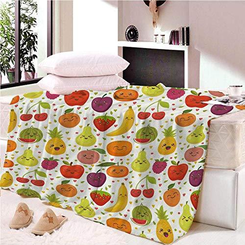KABANRU Flannel Fleece Throw Blankets 3D Printing Pattern -Fruit - Travel Size Super Soft Fluffy Warm Solid Bed Throws for Sofa Microfiber Blanket 180x200cm