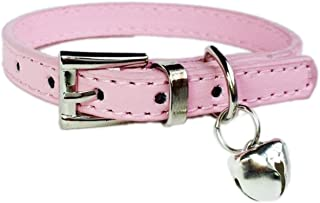 GVGs Shop 1 Pack Solid Leather Neck Strap Dog Collar Small Pet Leash Soft Elastic Bow Bell Tag Flower Primo Popular Extra Large Wide Reflective Safety Breakaway Training Camo Kitten Cat Collars
