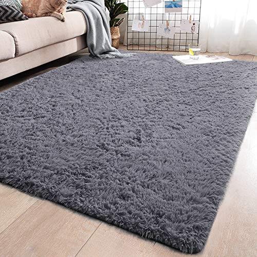YJ.GWL Soft Grey Shaggy Area Rugs for Girls Room Bedroom Non-Slip Kids Carpet Baby Nursery Decor Fluffy Modern Rug 5.3 x 7.6 Feet