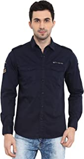Mufti Men's Solid Slim fit Casual Shirt (MFS-9913-H-05_Navy_3XL)