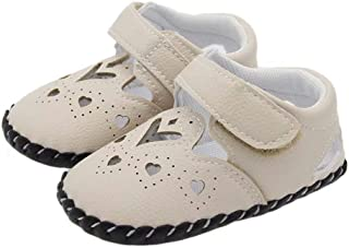 AIDEAR Soft Blend Leather Baby Shoes. Non Slip Soft-Ground. White, Pink, Beige and Flowers Adjustable-Strap for Girls. 0-6 to 18-24 Months. Toddler Shoes.