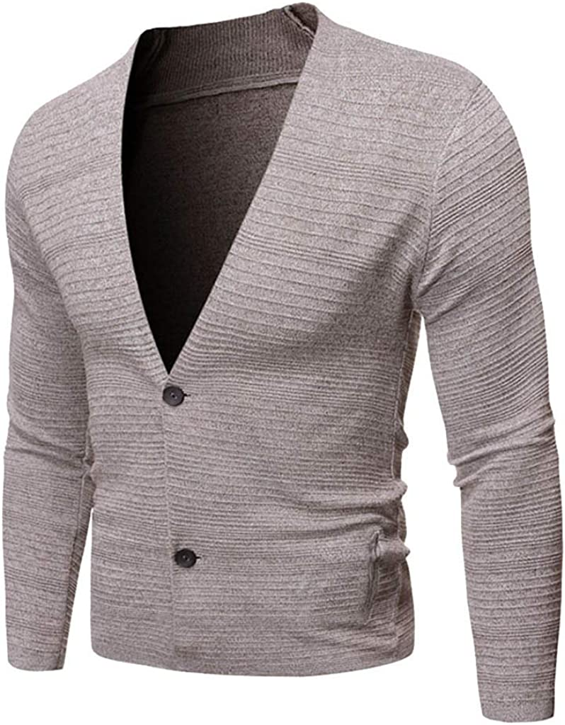 Men's Pullover V-Neck Button Sweater Long Sleeve Warm Soft Knitted Cardigan