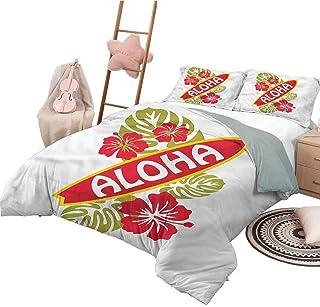 Nomorer Juego de Funda nórdica, tamaño Doble, Tabla de Surf, Colcha Liviana para Dormitorio, para Todas Las Estaciones, Hojas de Palmera gráficas Aloha