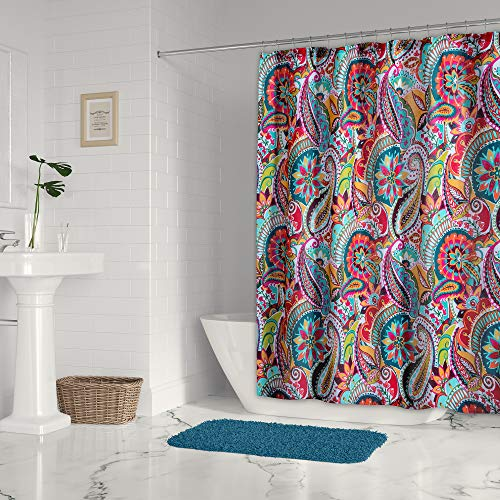 Levtex Home - Rhapsody - Shower Curtain with Grommets - One Shower Curtain Panel 72x72 inch - Bohemian Paisley - Orange, Turquoise, Teal Green, Red, Lime, Yellow, Blue, Brown - 100% Cotton - Lined