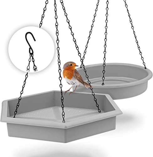 WILDLIFE FRIEND Mangeoire plus Bain d'Oiseaux à Suspendre [Lot de 2] - Distributeur de Graines pour Oiseaux Sauvages