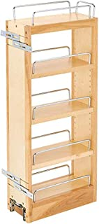 Rev-A-Shelf 448-WC-5C 5 Inch Pull Out Wood Wall Cabinet Organizer, Maple Wood